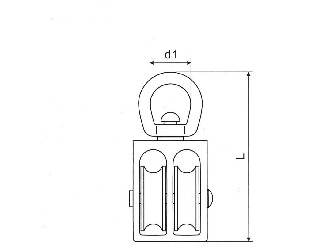 Nickel Plated Swivel Eye U.S Type Pulley With Double Wheels Thumb 1