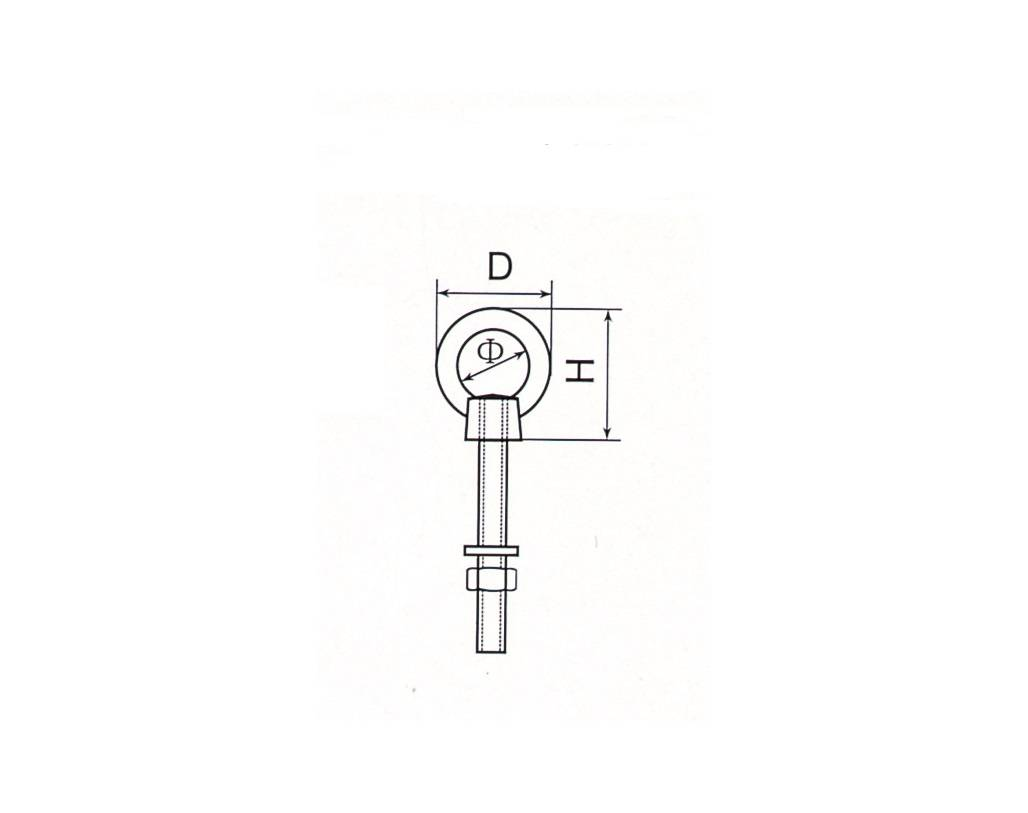 Stainless Steel Long Type Eye Bolt With One Washer and One Nut Thumb 1